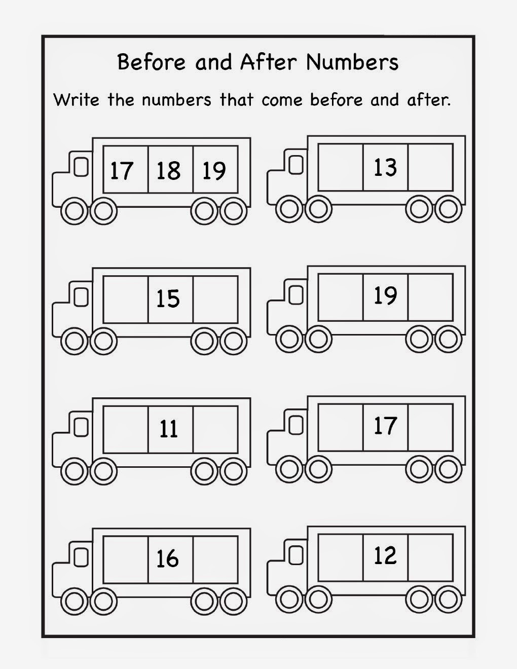 Numbers before and after Worksheet