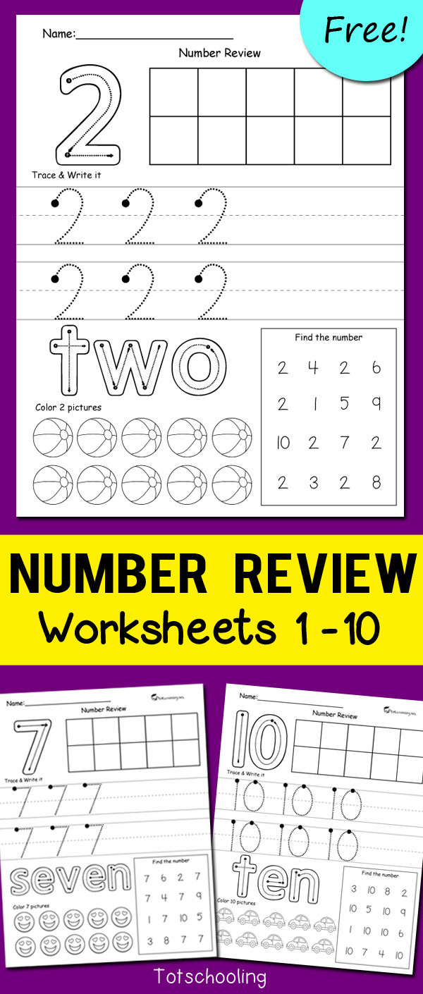 Numbers Worksheets 1 10