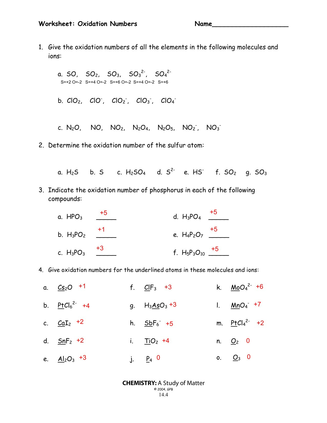 Oxidation Number Worksheet with Answers