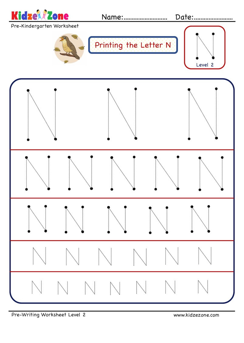 Preschool Letter N Worksheets