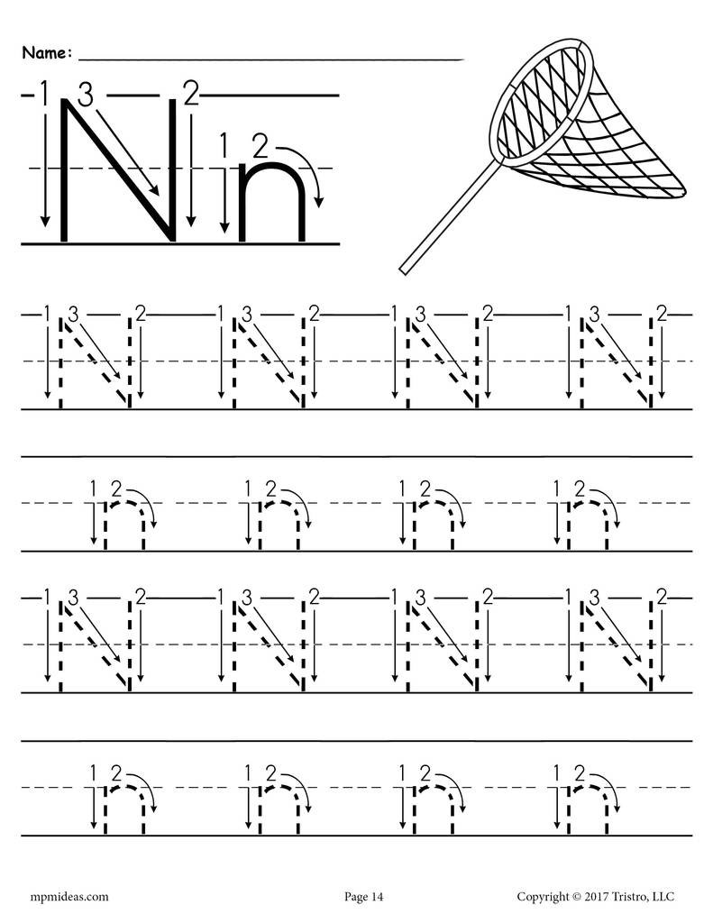 Printable Letter N Tracing Worksheet With Number and Arrow Guides