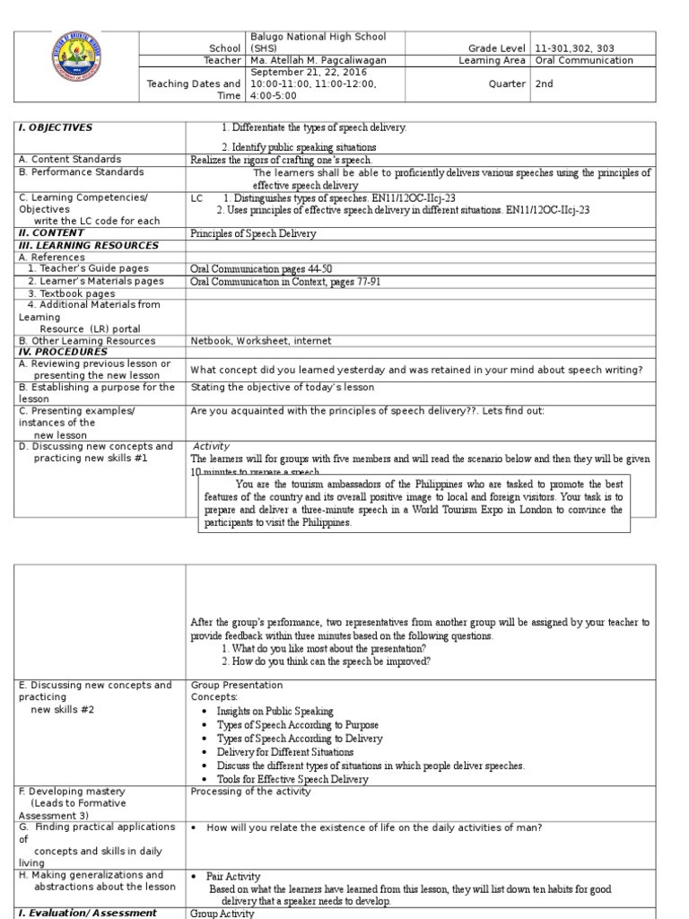 Public Speaking Worksheets High School