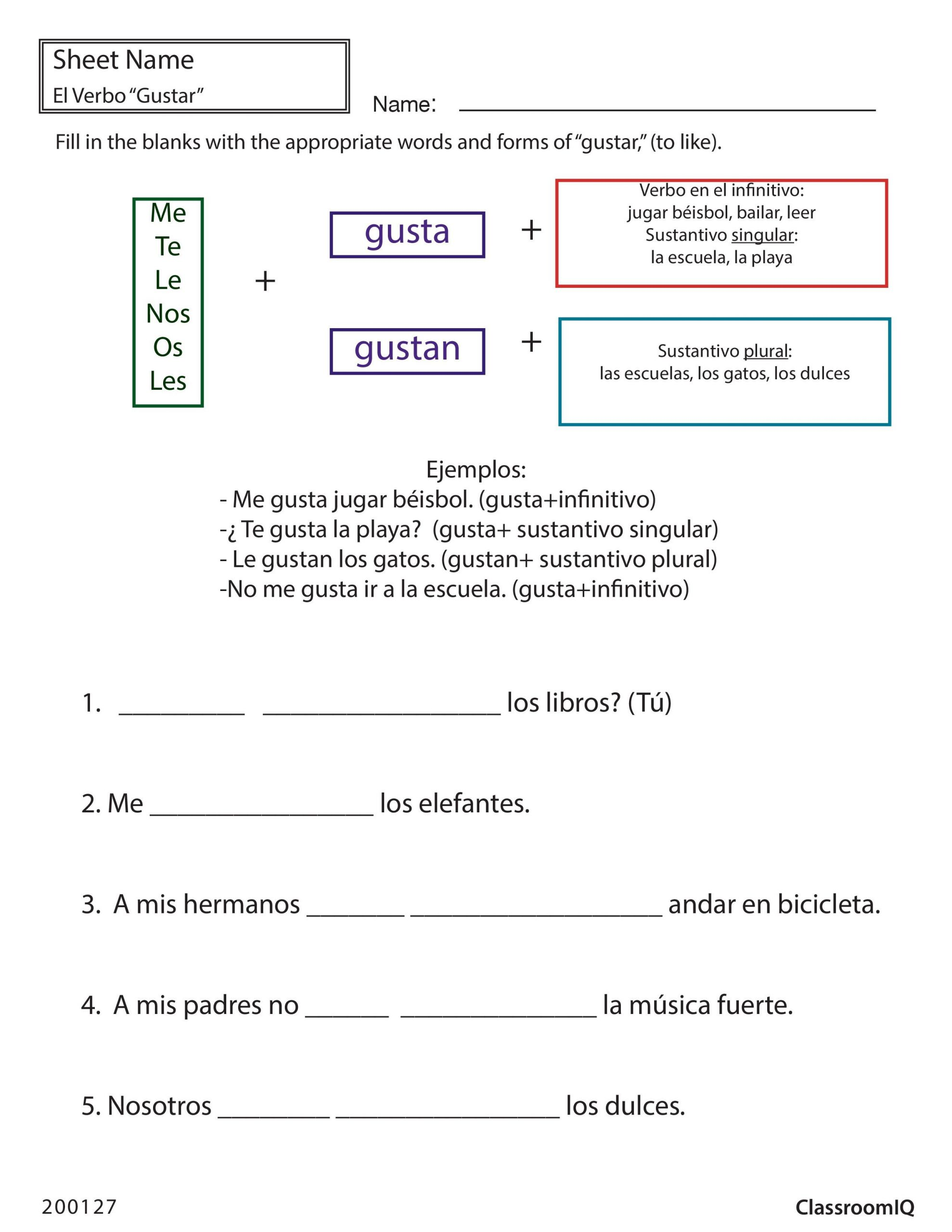 Spanish 1 Worksheets High School
