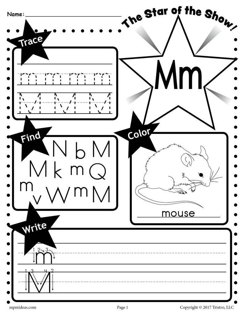 Letter M Worksheet Tracing Coloring Writing & More