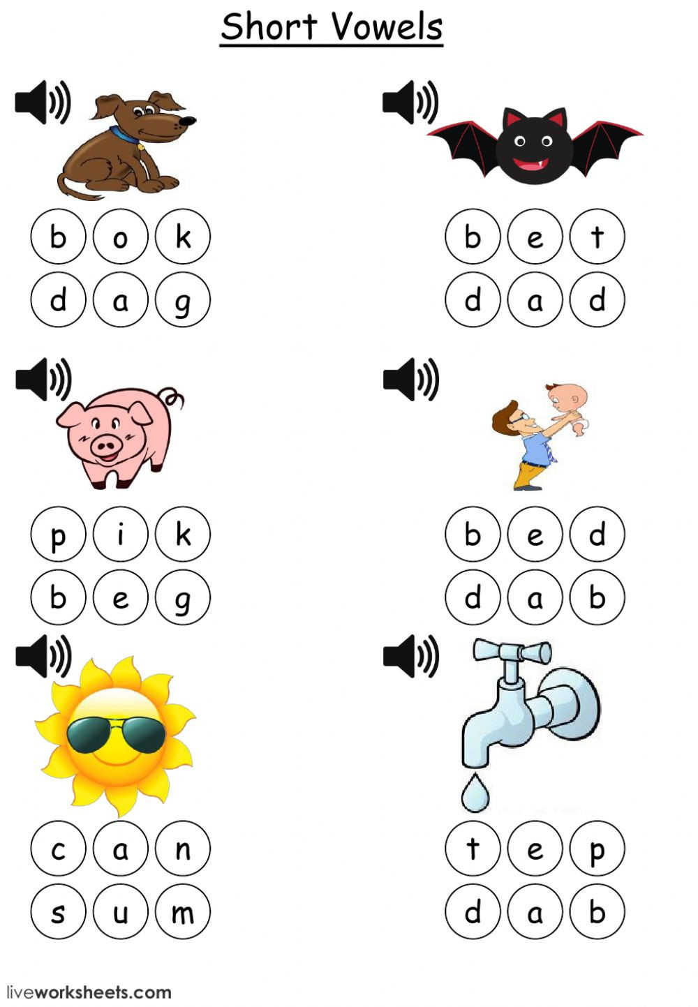 Three Letter Words Worksheets