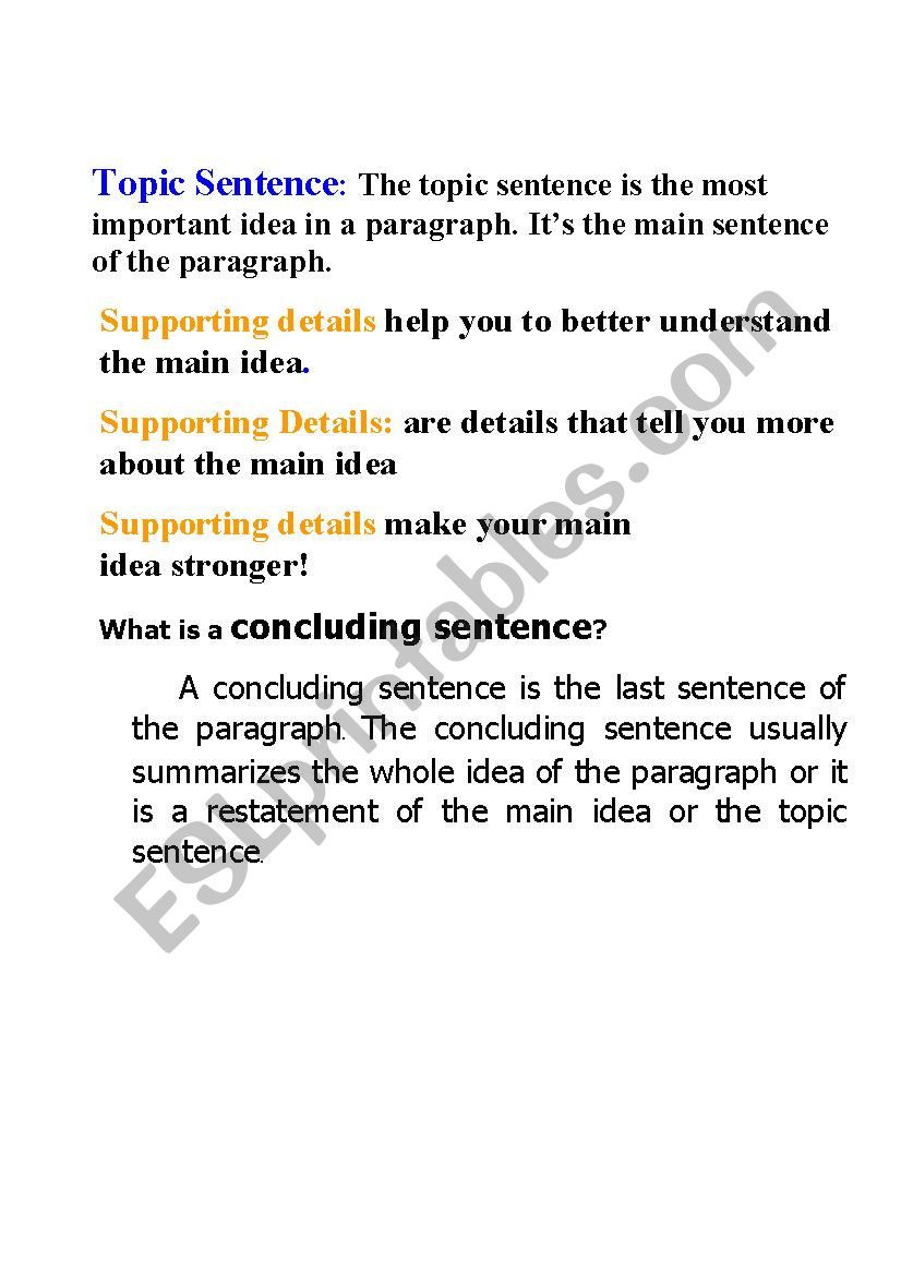 Topic Sentence Worksheets High School