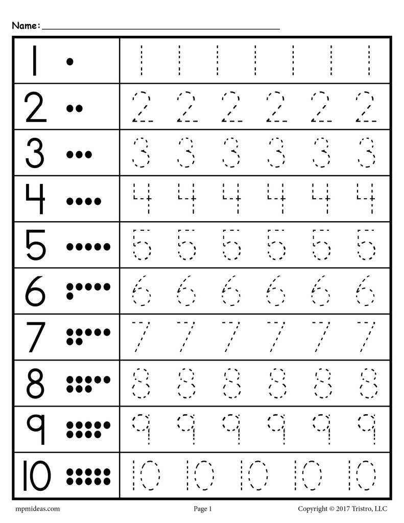 Tracing Worksheets Numbers 1 20 – SupplyMe