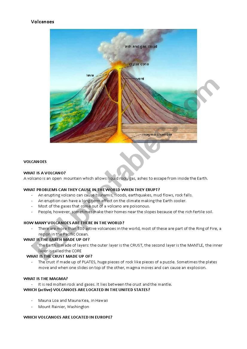 Worksheet containing a very simple presentation of a volcano