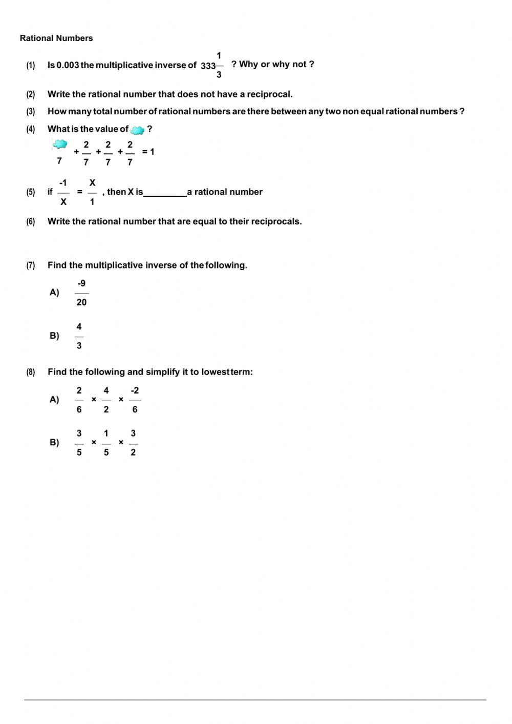 Worksheet On Rational Numbers