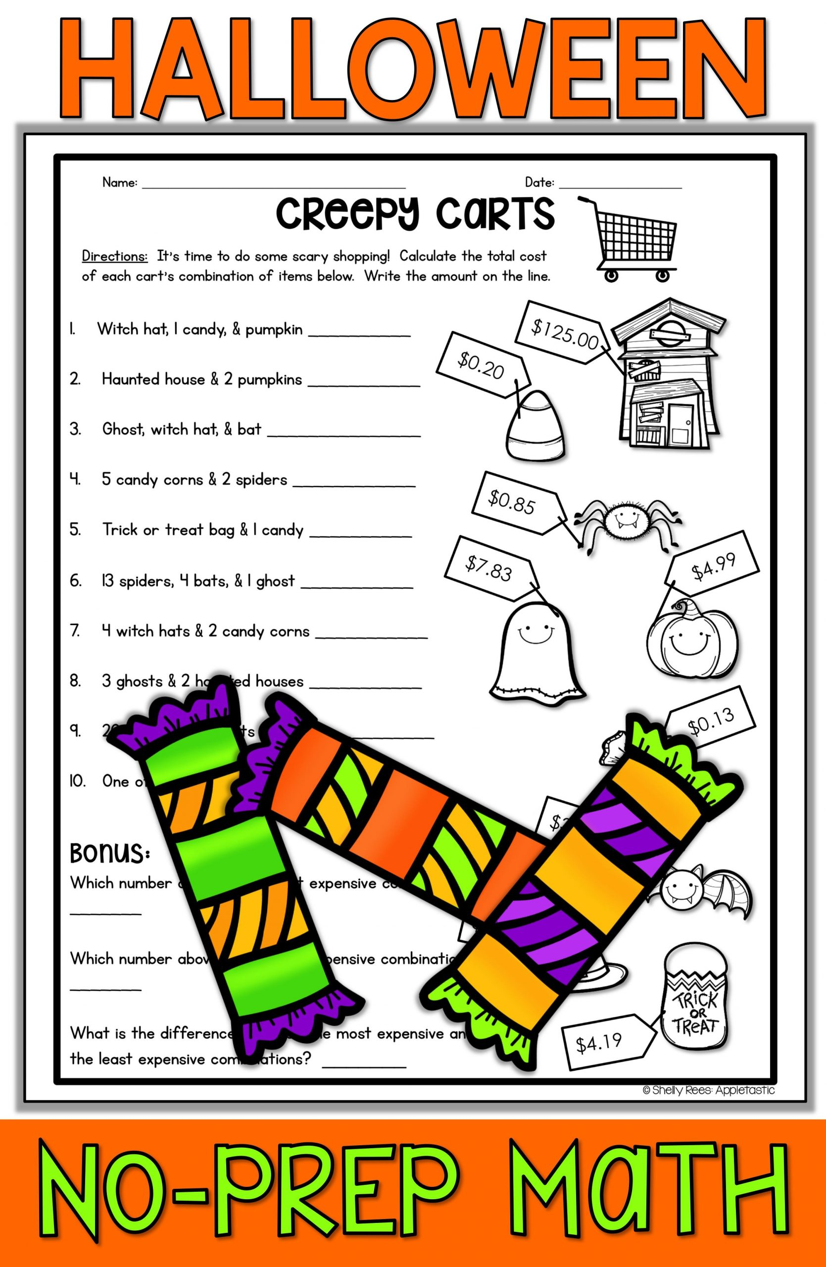 Fun Halloween Math Worksheets for 2nd Grade