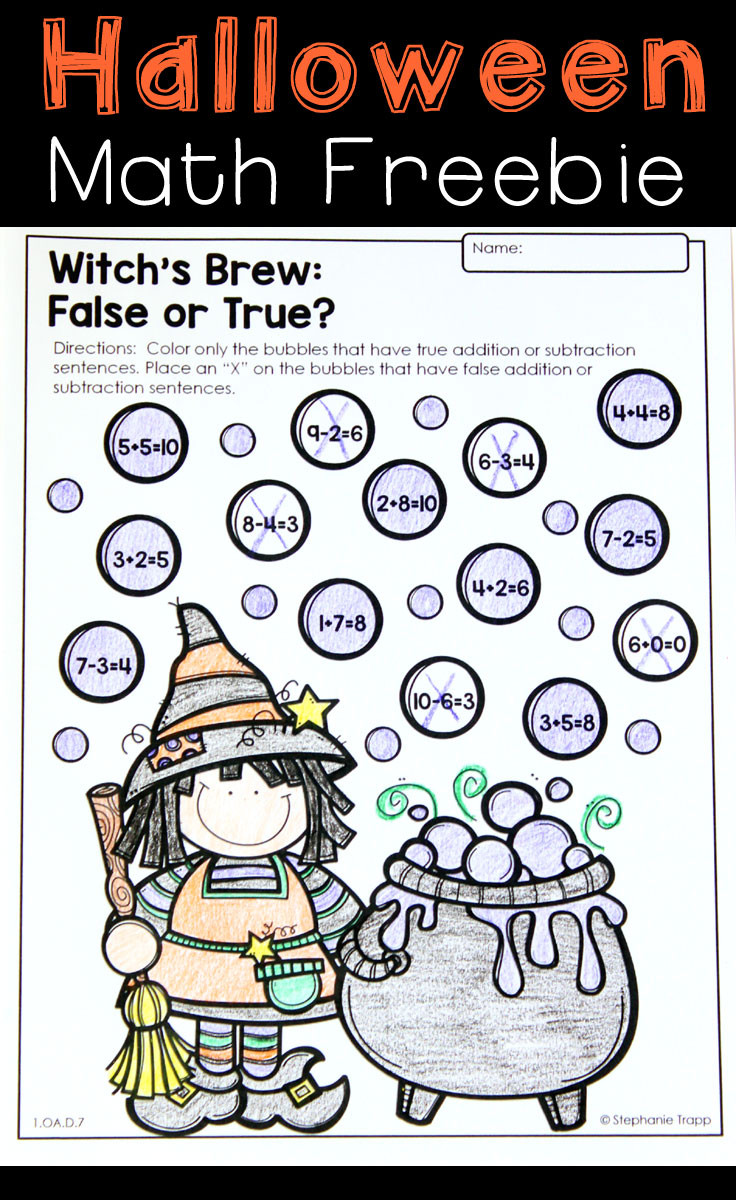 Halloween Addition Worksheets First Grade