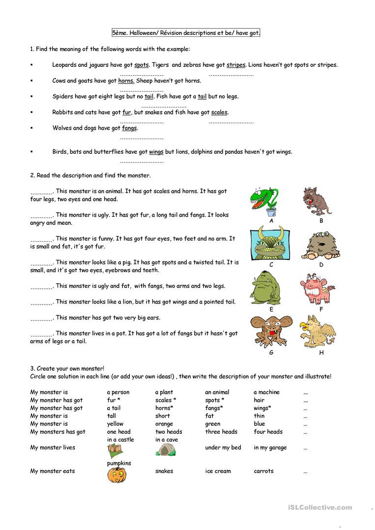 Halloween Adjectives Worksheets