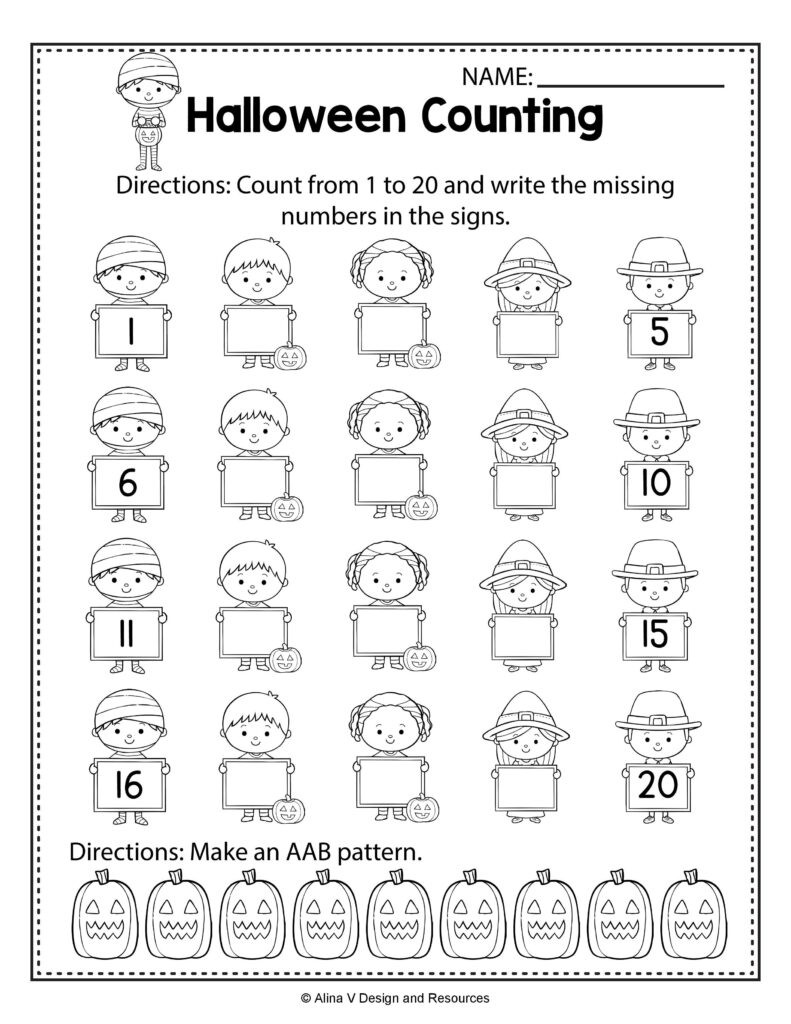 Halloween Comparing Numbers Worksheets