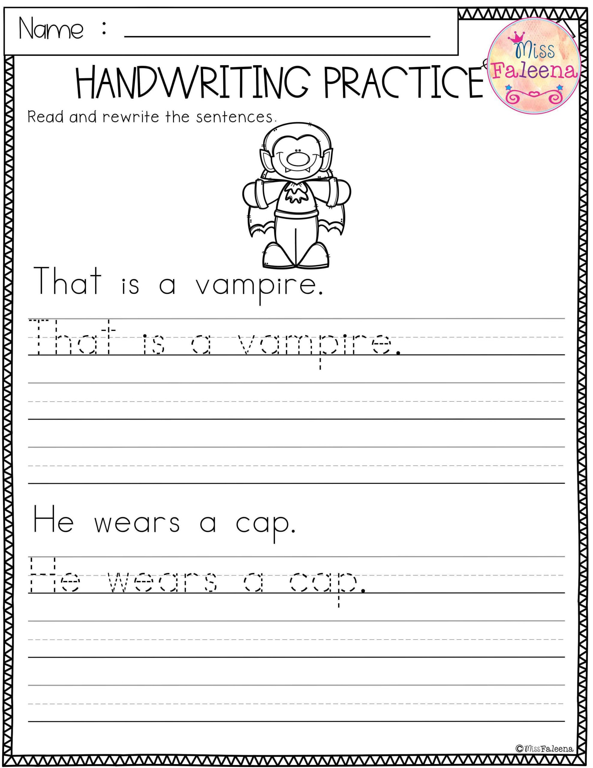 Halloween Handwriting This product has 20 pages of