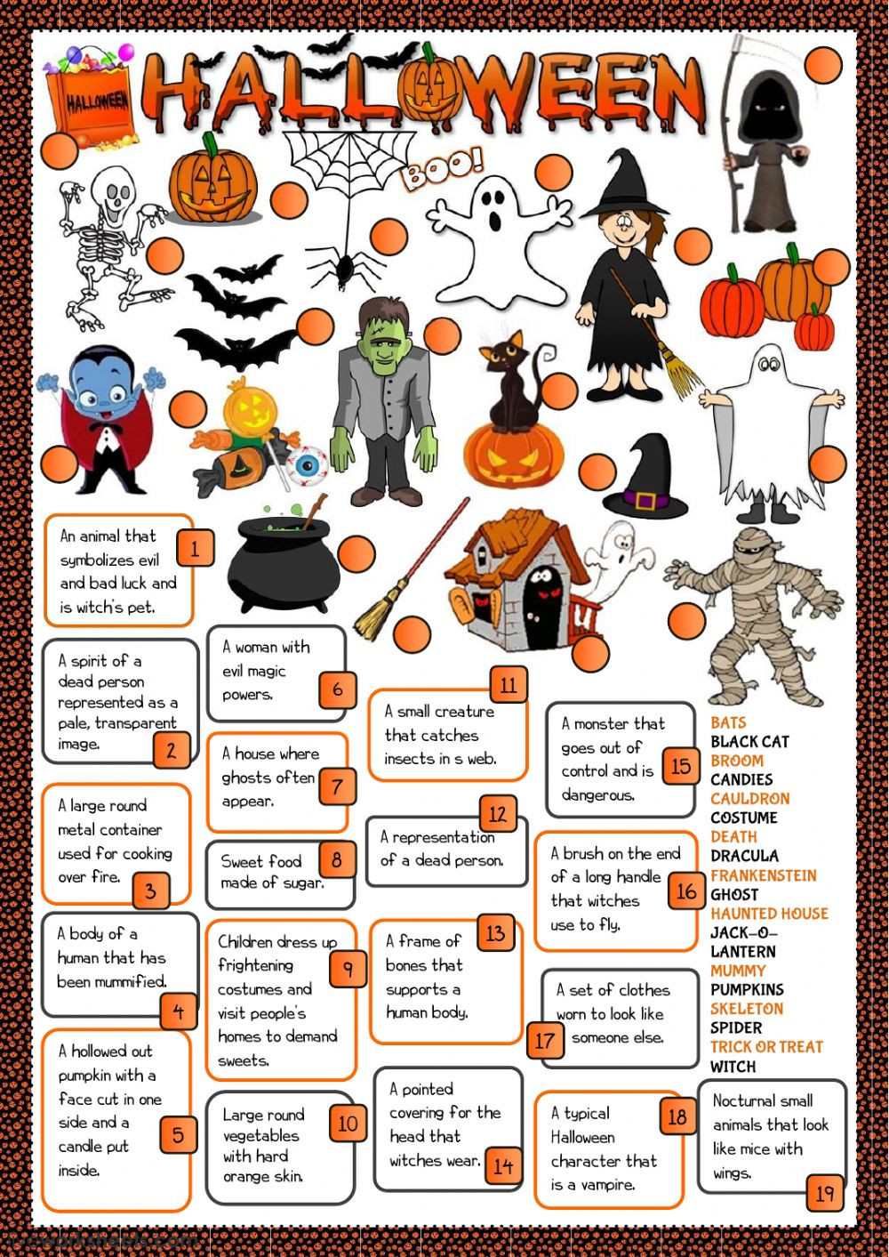 Halloween definitions Interactive worksheet