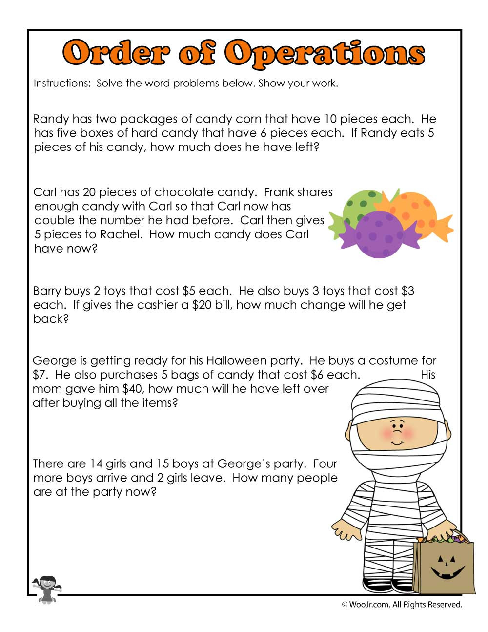 Halloween Math Worksheets for Preschool
