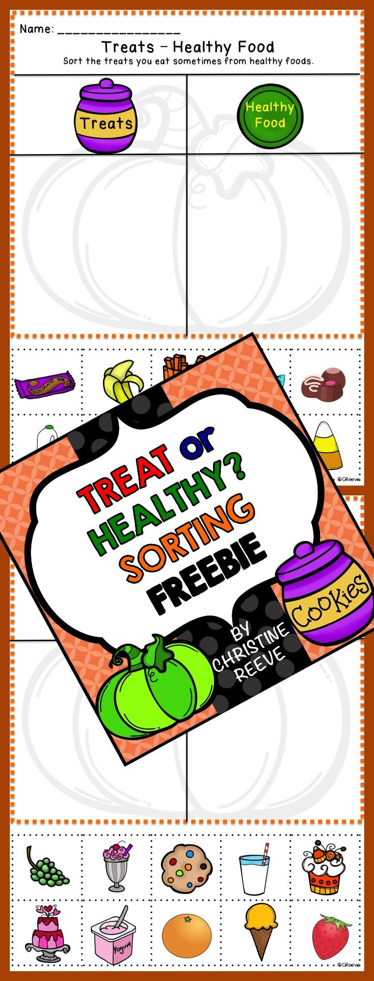This FREE sorting activity for healthy not healthy foods