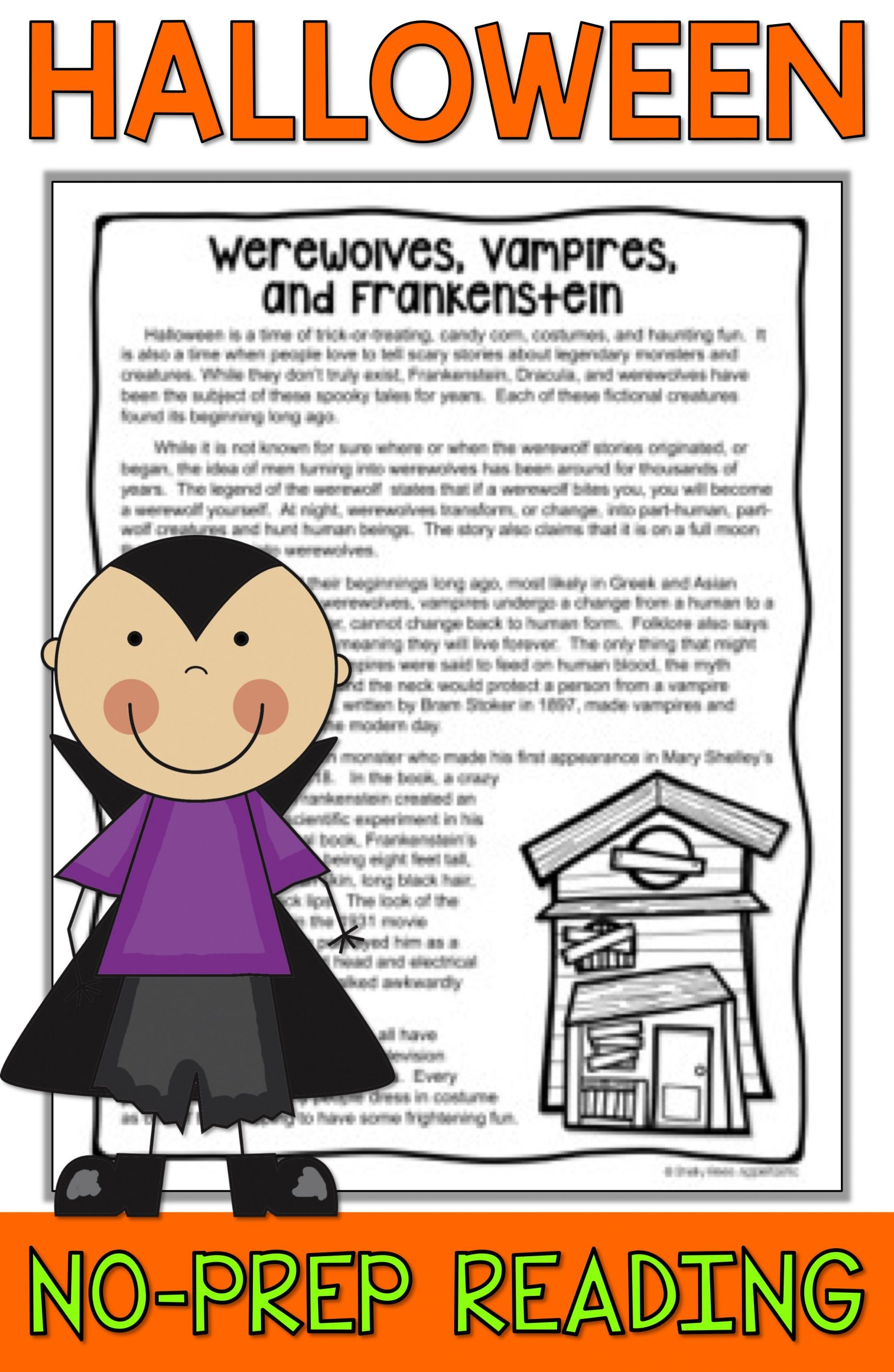 Halloween Reading activities for 3rd 4th grade 5th and