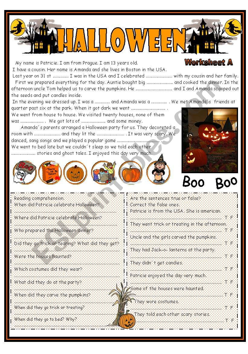 Halloween Reading Comprehension Worksheets Pdf