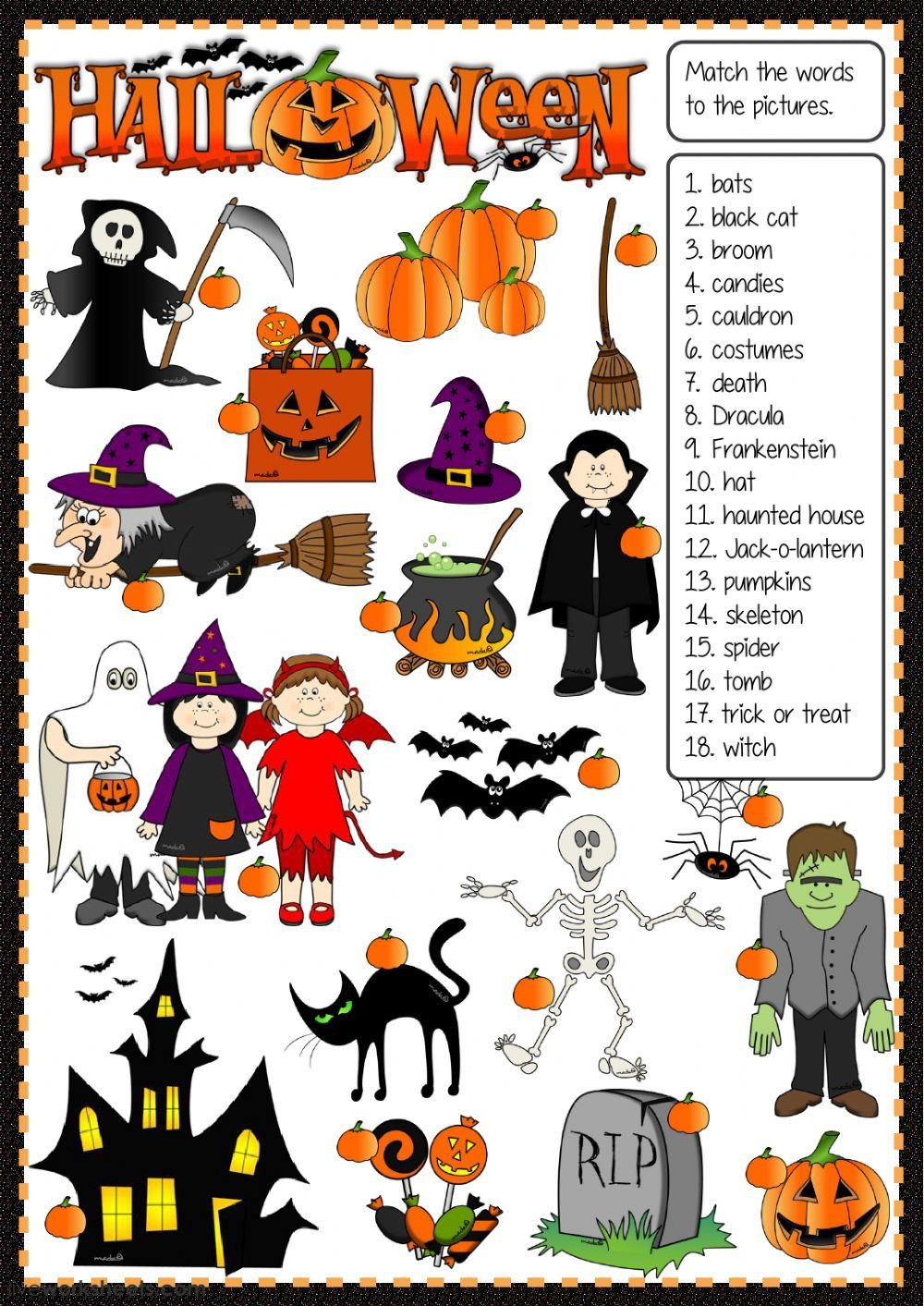Halloween Vocab Worksheet