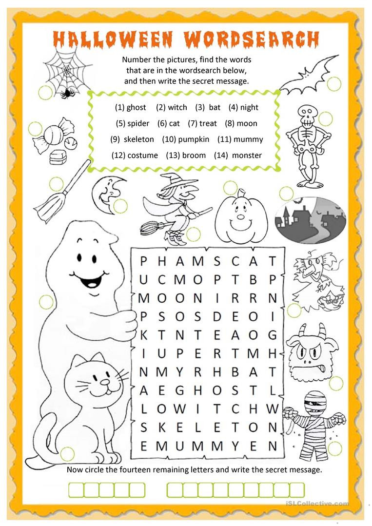 Halloween wordsearch English ESL Worksheets for distance