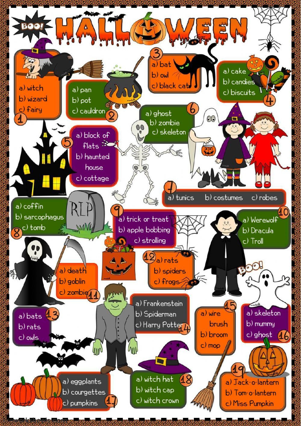Halloween Worksheet Intermediate Pdf