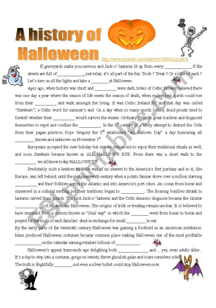 A History of Halloween VIDEO 4 pages ESL worksheet