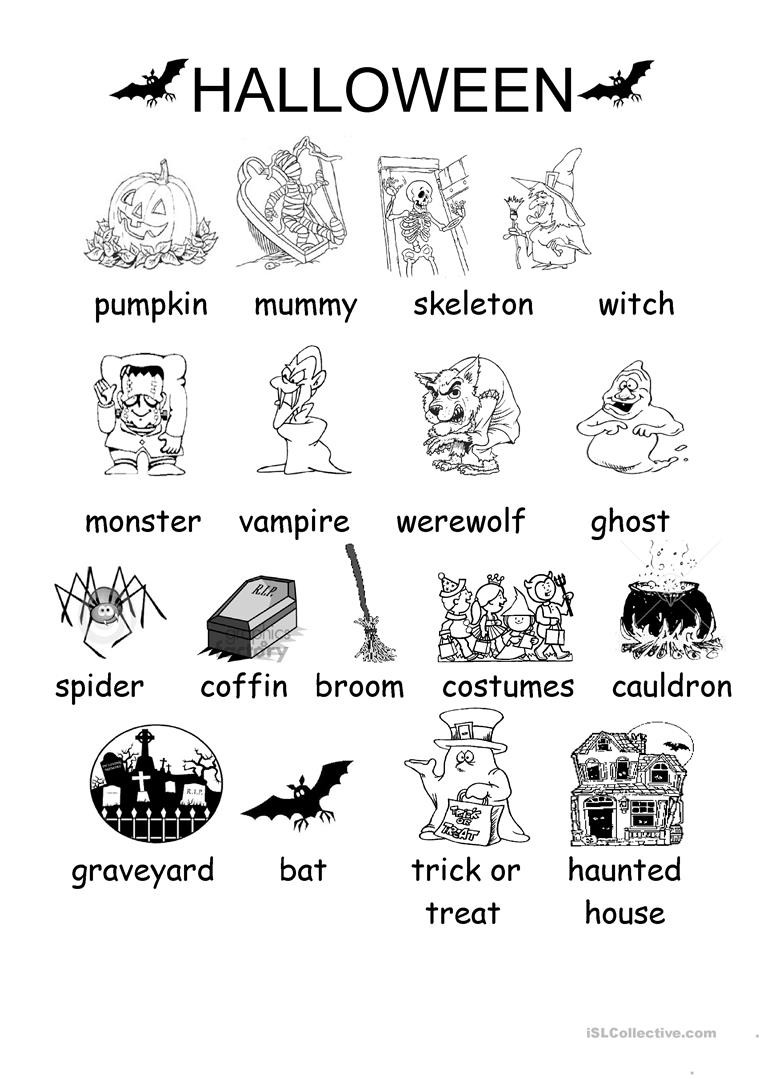 Halloween Worksheets Esl Elementary