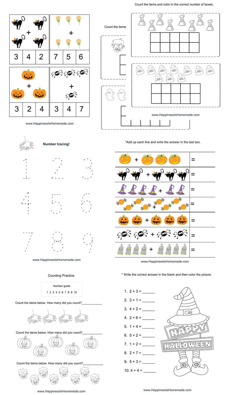 Halloween Worksheets for Year 1