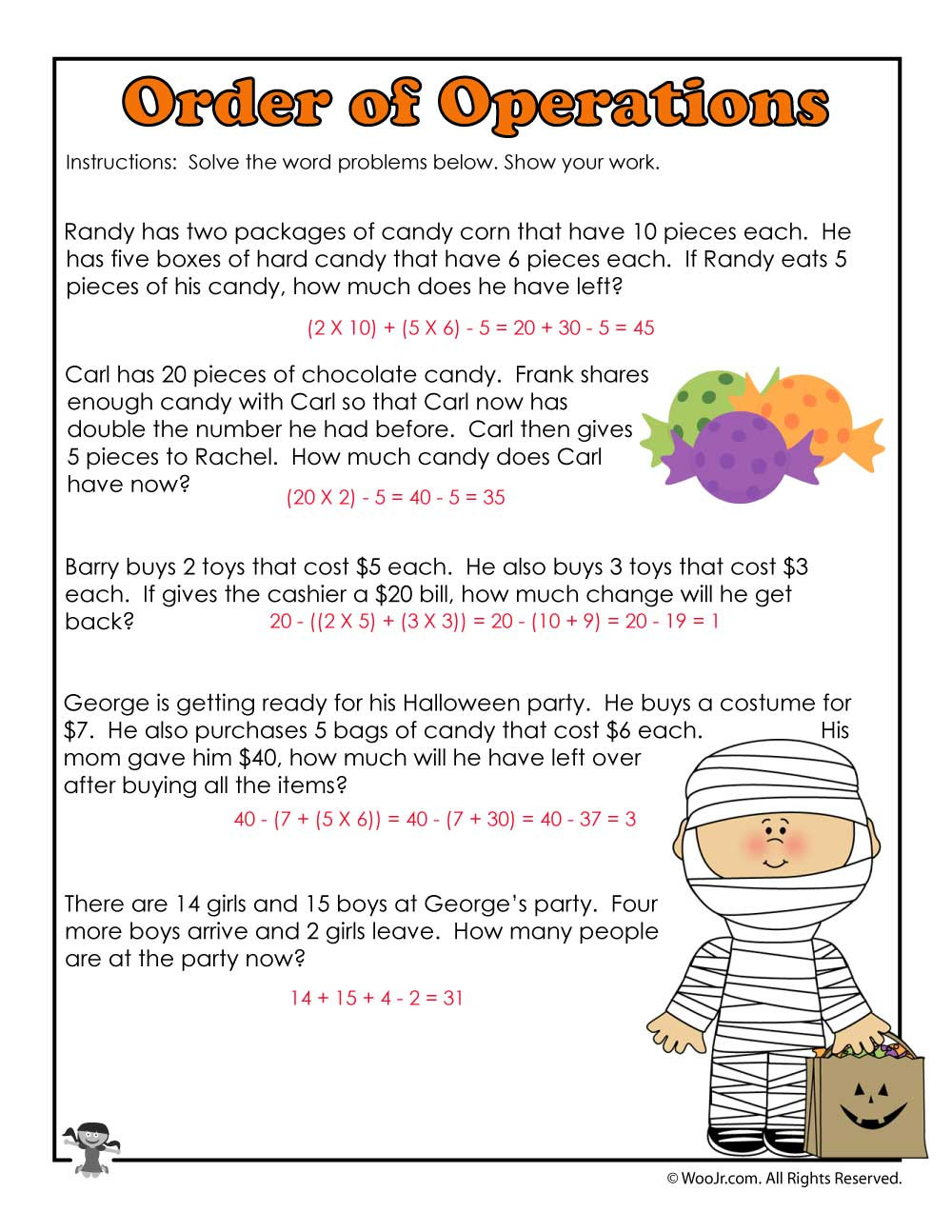 Halloween Worksheets Grade 2