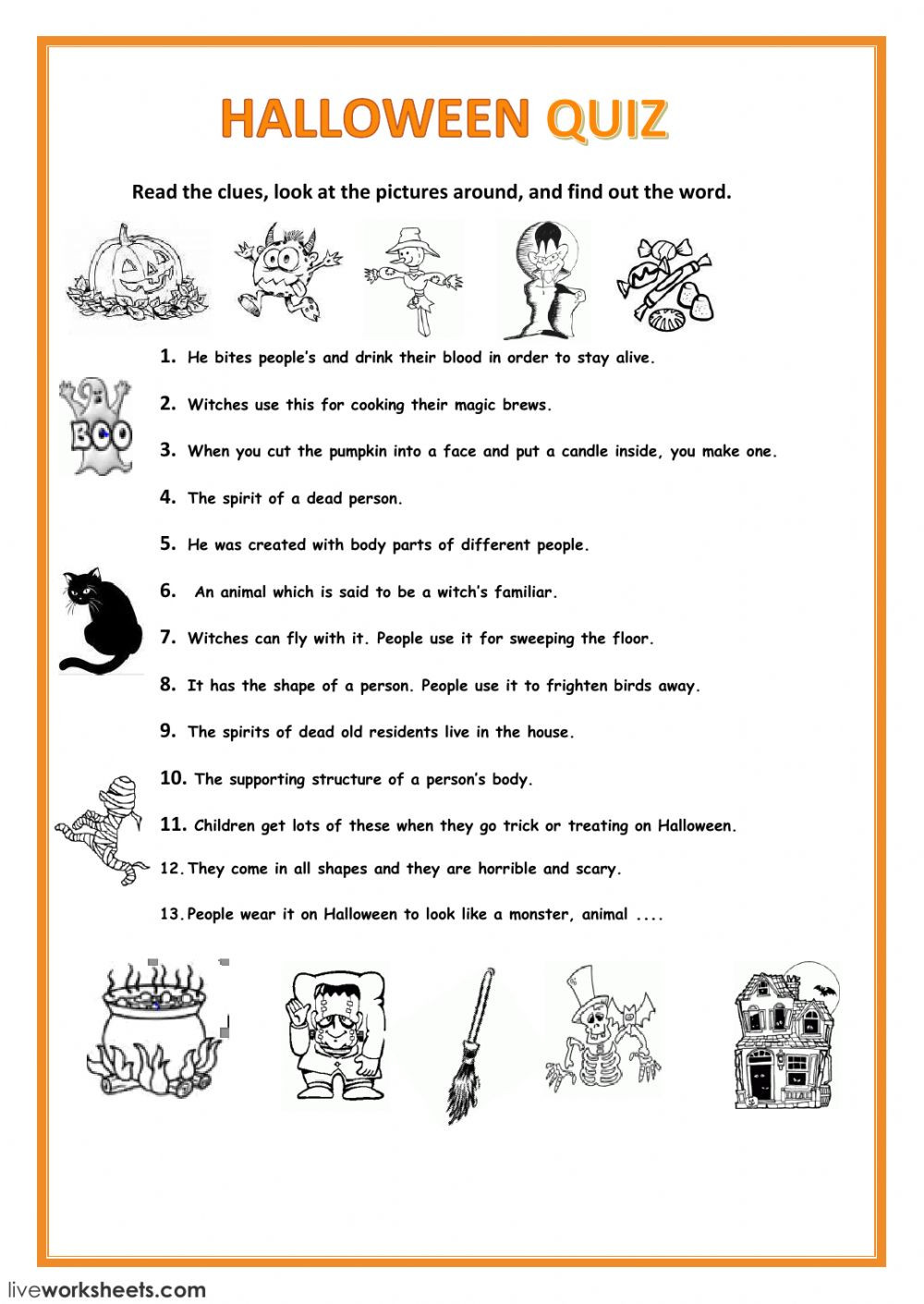 Halloween Worksheets In French