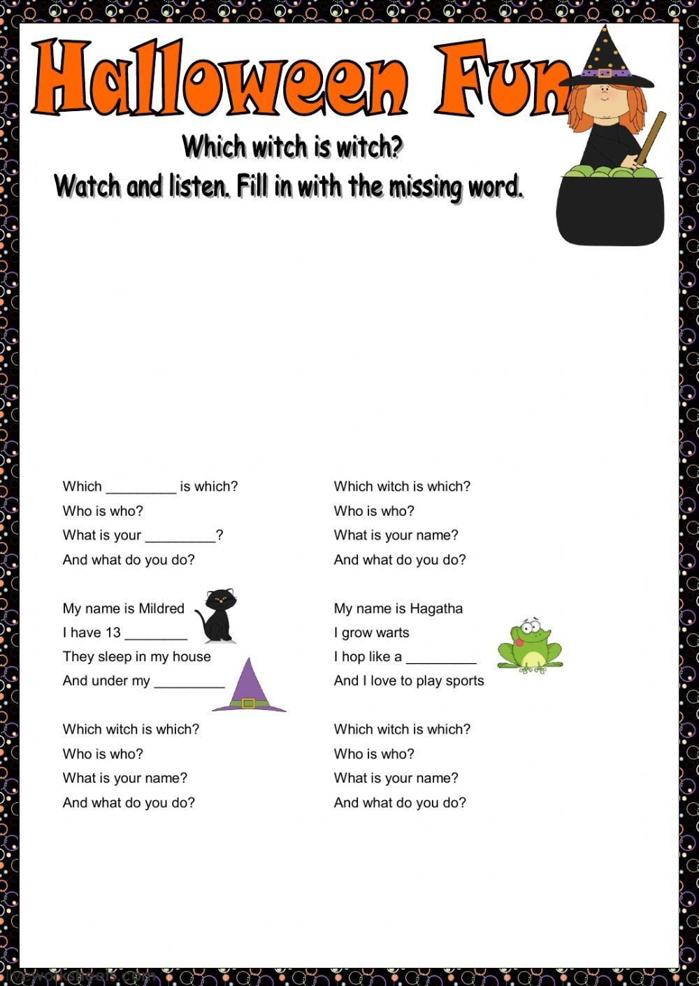 Halloween Worksheets Pdf Intermediate
