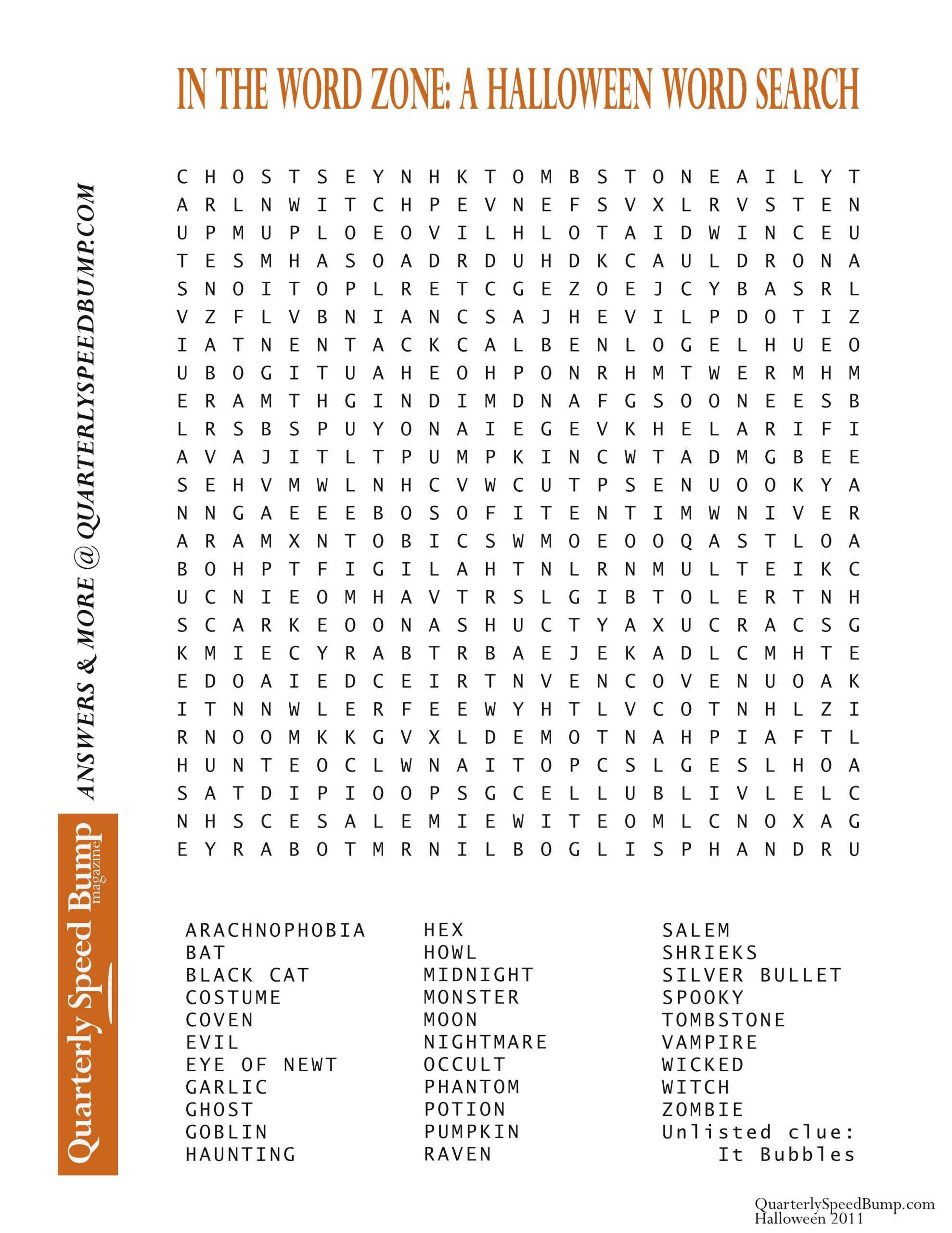 Halloween Worksheets Word Search